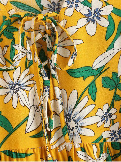 ZAFUL Robe Fleur Imprimée à Manches Longues Plissée à Lacets - Multi-A S Mobile