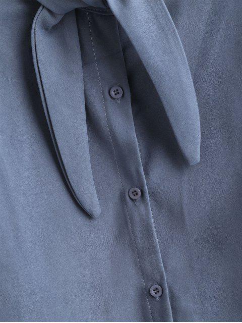 Camisa de manga larga con cuello redondo - Gris Azulado L Mobile