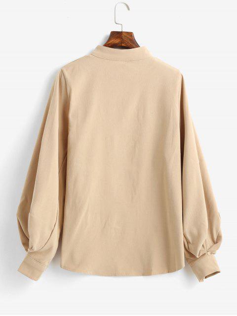 lady Balloon Sleeve Stand Collar Plain Shirt - LIGHT KHAKI M Mobile