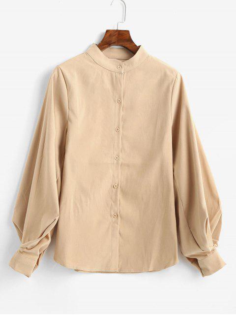 women Balloon Sleeve Stand Collar Plain Shirt - LIGHT KHAKI XL Mobile