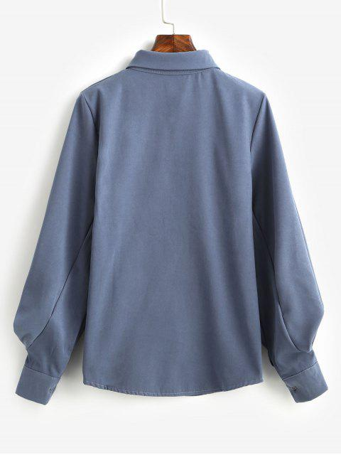 Chemise Boutonnée Manches Ballon à Col Noué - Bleu-gris S Mobile