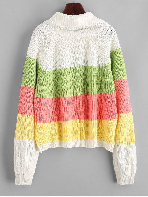 affordable Color Block Raglan Sleeves Open Knit Sweater - CLOVER GREEN L Mobile