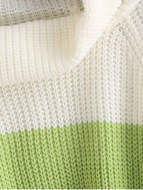 women Color Block Raglan Sleeves Open Knit Sweater - CLOVER GREEN M Mobile