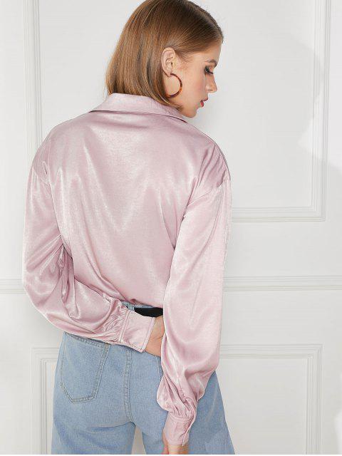 women's Plain Flap Pockets Button Up Shirt - PINK 1XL Mobile