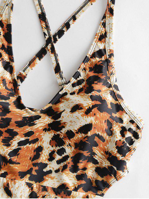 Traje de baño de una pieza con estampado de lechuga entrecruzada ZAFUL - Leopardo L Mobile