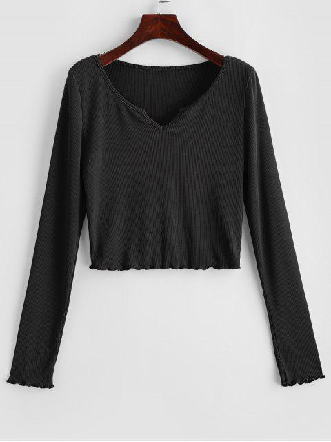outfits ZAFUL Lettuce Trim Notched Crop Solid Tee - BLACK L Mobile