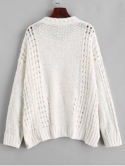fancy Side Slits Solid Open Knit Sweater - WHITE S Mobile