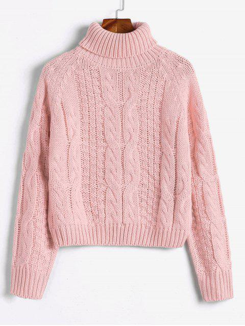 womens ZAFUL Turtleneck Cropped Cable Knit Sweater - PINK S Mobile