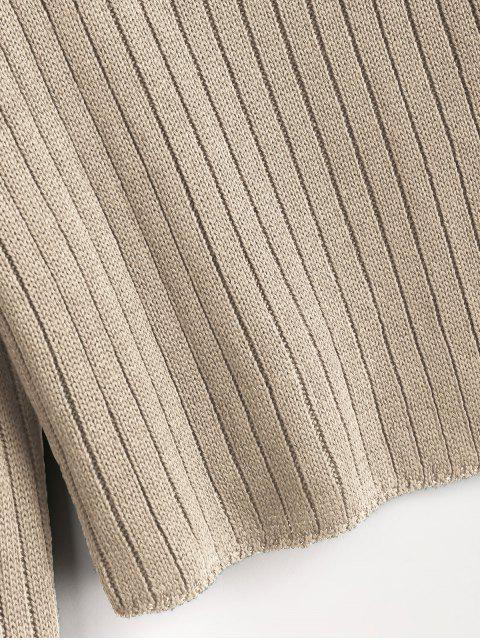 womens Mock Neck Ribbed Sweater - TAN L Mobile