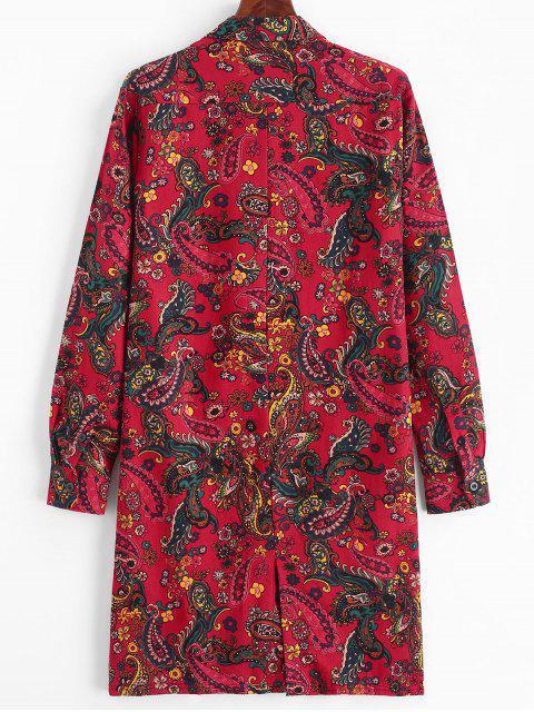 Paisley floral del botón de impresión Hasta túnica larga camiseta - Rojo Lava 2XL Mobile
