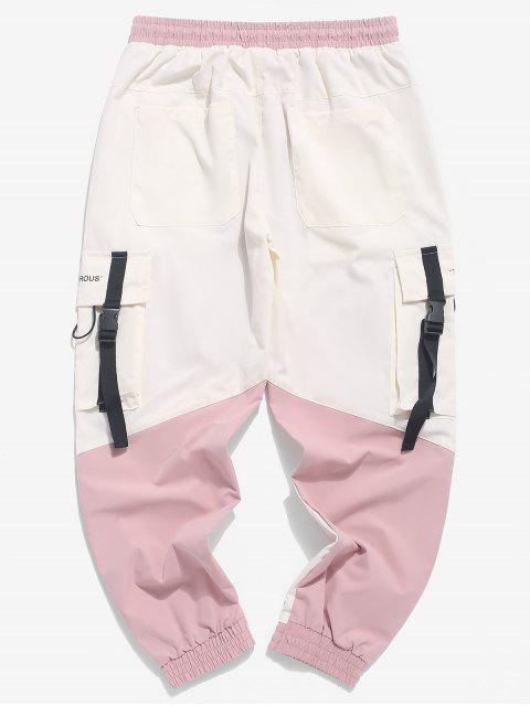 shops Color Block Spliced Buckle Ribbon Pocket Letter Print Jogger Pants - BEIGE M Mobile