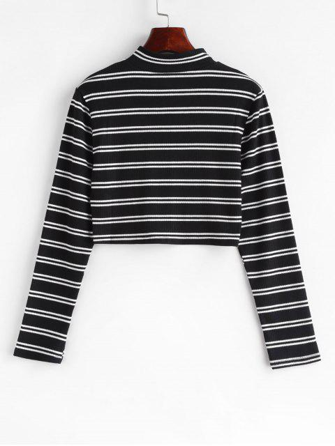 best Pull Ring Zip Striped Ribbed Long Sleeve Tee - MULTI-A XL Mobile