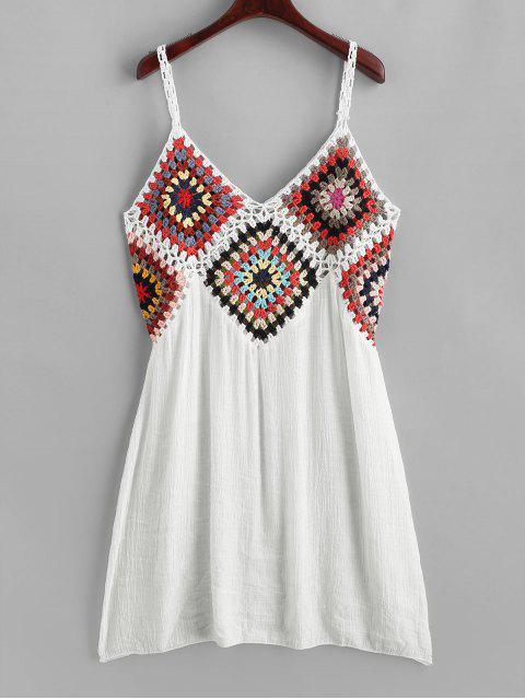 shops Colorful Crochet Panel Beach Dress - WHITE ONE SIZE Mobile