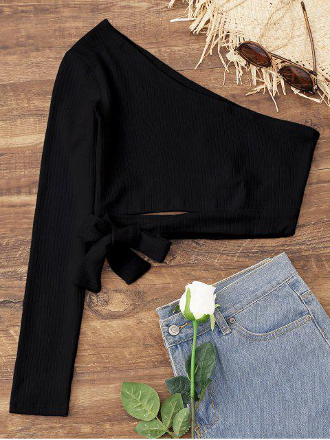 buy Tied One Shoulder Crop Top - BLACK L Mobile