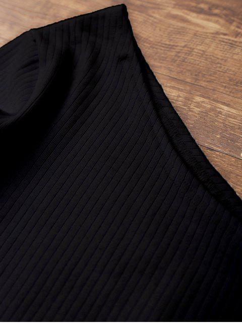 shops Tied One Shoulder Crop Top - BLACK XL Mobile