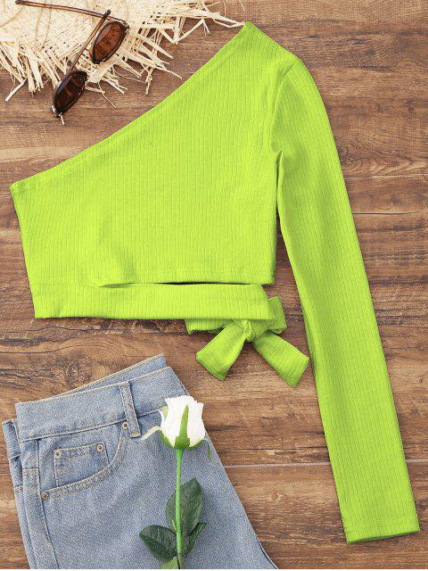 latest Tied One Shoulder Crop Top - TEA GREEN XL Mobile