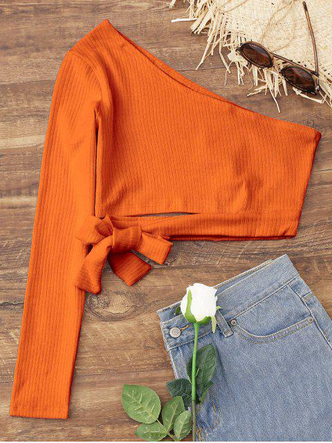 trendy Tied One Shoulder Crop Top - PUMPKIN ORANGE XL Mobile