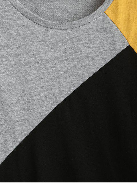 Sudadera Casual Bloque Color Hombro Caído - Negro XL Mobile