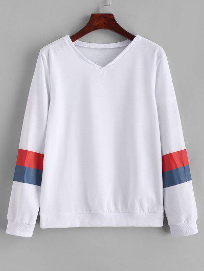 V Neck Pullover Color Block Stripes Sweatshirt - White S