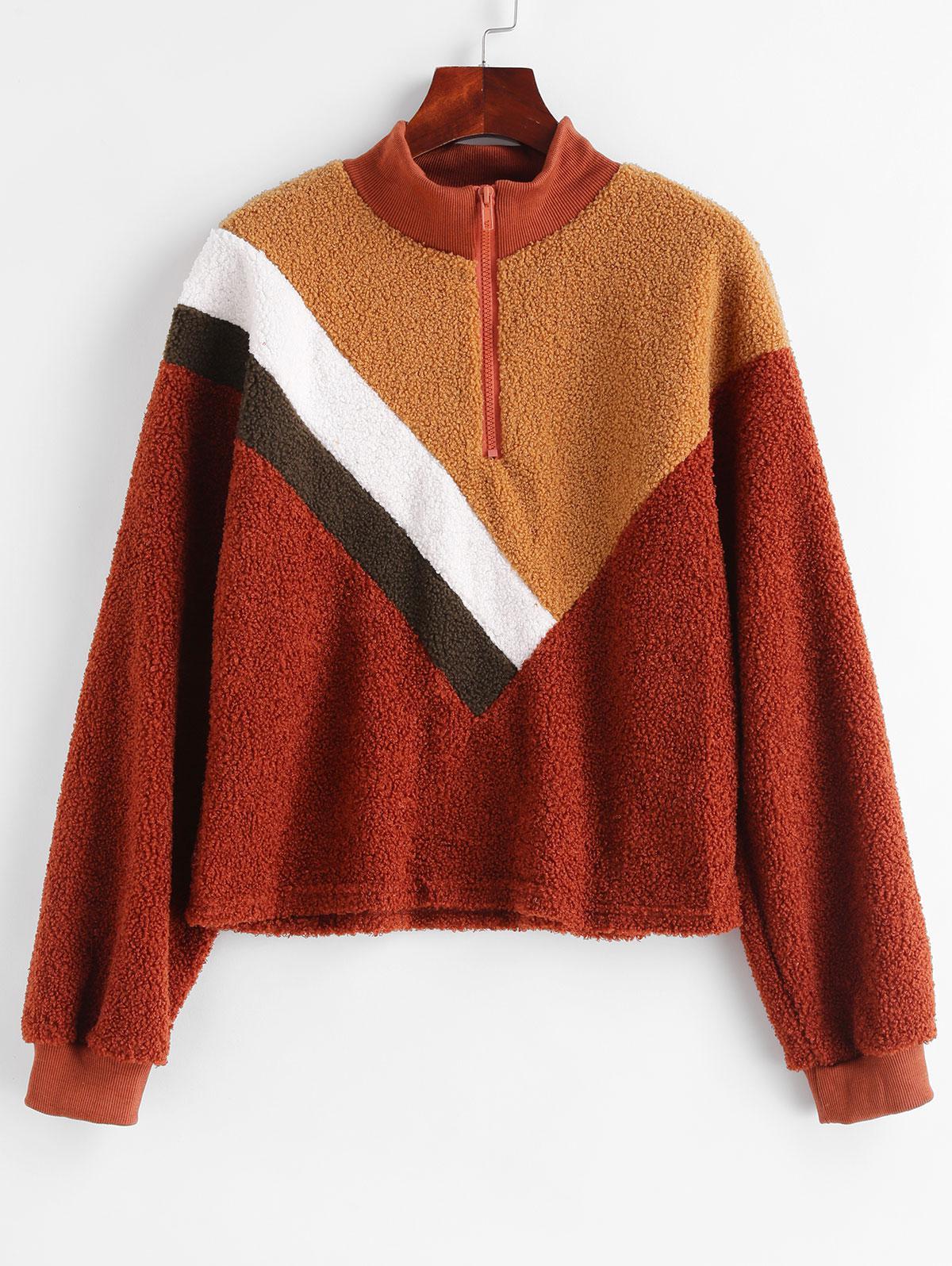 Quarter Zip Colorblock High Neck Teddy Sweatshirt