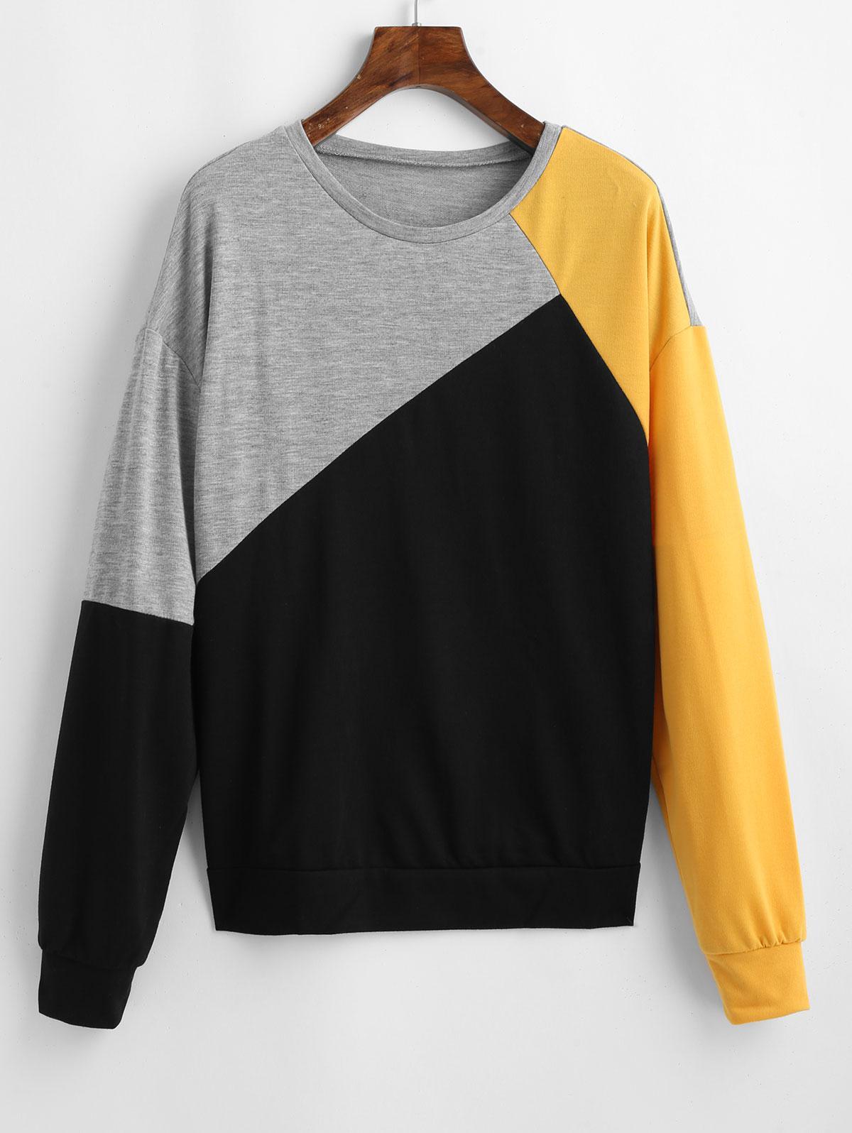 Drop Shoulder Color Block Casual Sweatshirt