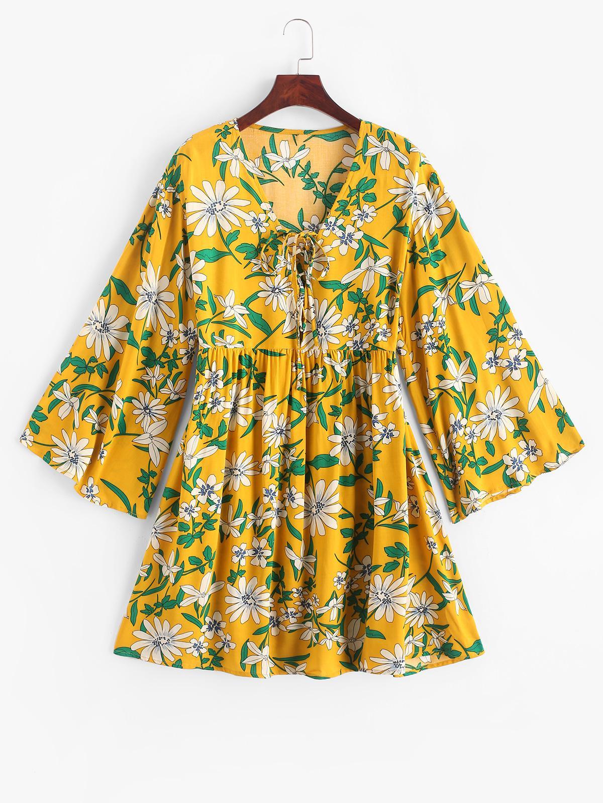 ZAFUL Flower Print Lace Up Long Sleeve Smock Dress thumbnail