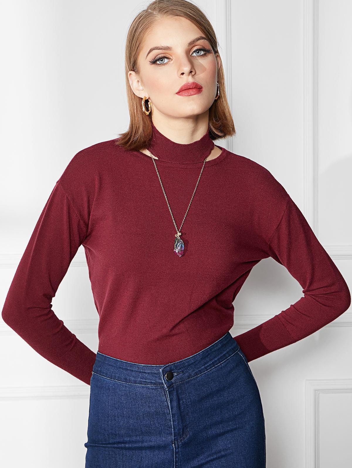 Cutout High Neck Sweater