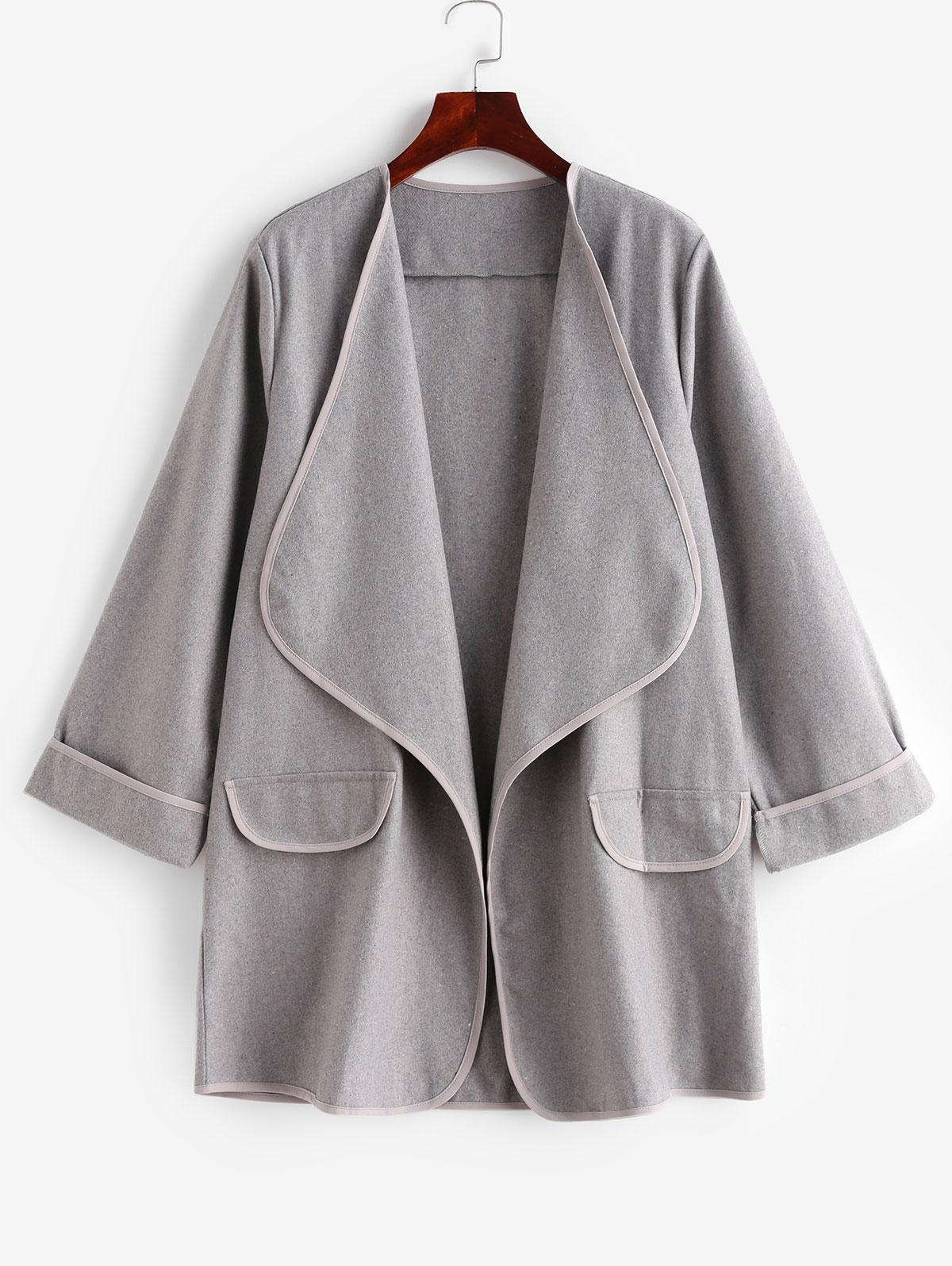 Faux Pockets Solid Draped Coat