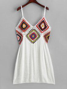 الملونة لوحة الكروشيه اللباس شاطئ - أبيض