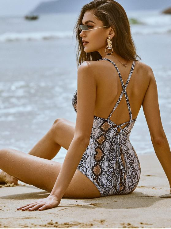 lady ZAFUL Snakeskin Lace Up Backless One-piece Swimsuit - MULTI-A XL