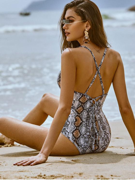 latest ZAFUL Snakeskin Lace Up Backless One-piece Swimsuit - MULTI-A L