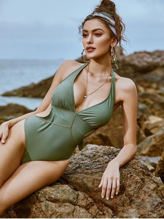 shops ZAFUL Halter Tie Back Monokini Swimsuit - CAMOUFLAGE GREEN S