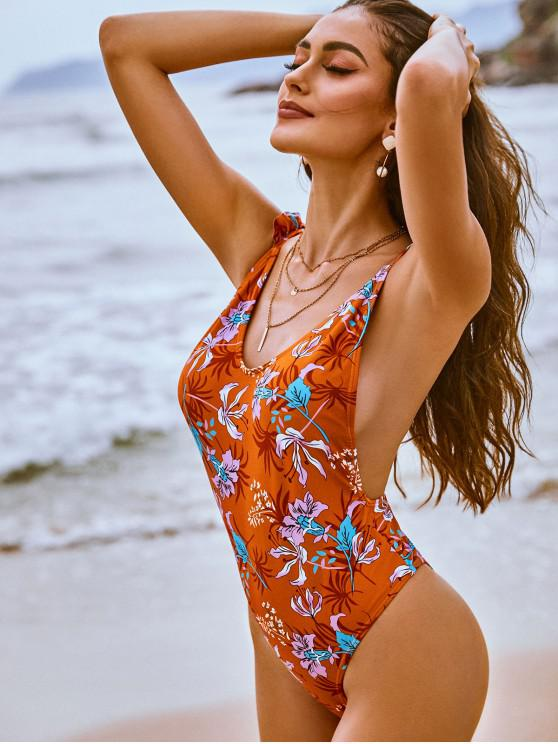 trendy ZAFUL Floral Print Ruffles One-Piece Swimsuit - RUST L