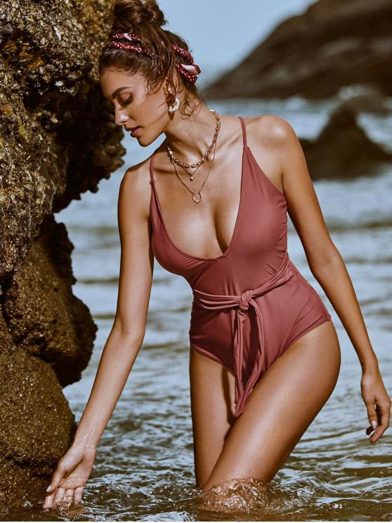 buy ZAFUL Belted Lace Up One-piece Swimsuit - CHERRY RED S