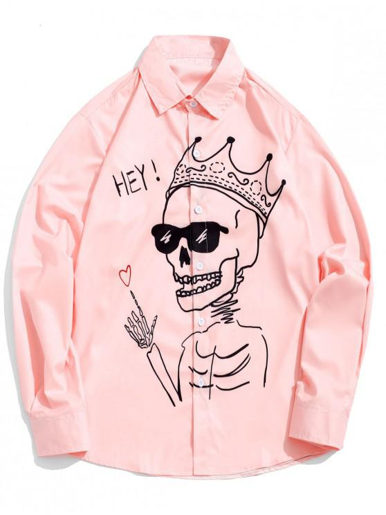 shops Funny Hey Heart Skull with Crown Figure Print Shirt - ROSE 2XL