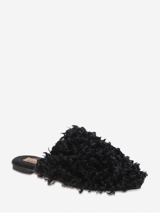 fancy Teddy Faux Fur Slingback Flat Shoes - BLACK EU 38