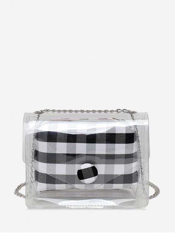 ladies 2 in 1 Transparent Plaid Print Chain Crossbody Bag - BLACK