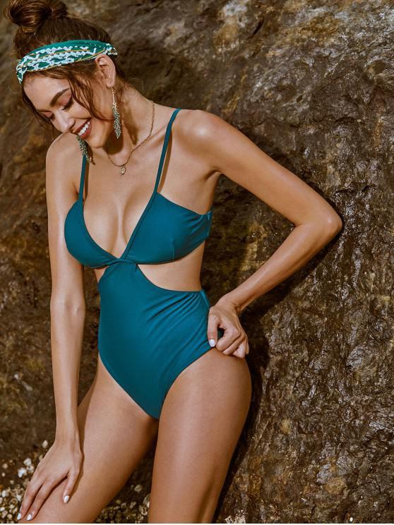 best ZAFUL Tie Back Cami Backless Monokini Swimsuit - PEACOCK BLUE L