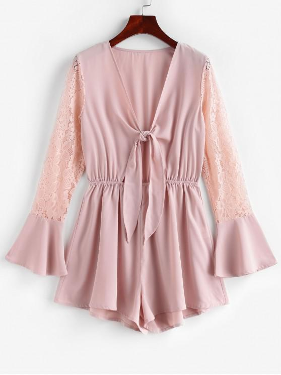 sale ZAFUL Tie Front Lace Panel Long Sleeve Romper - PINK ROSE XL