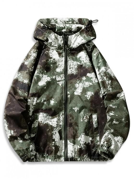 latest Camouflage Print Casual Zipper Hooded Jacket - GREEN XS
