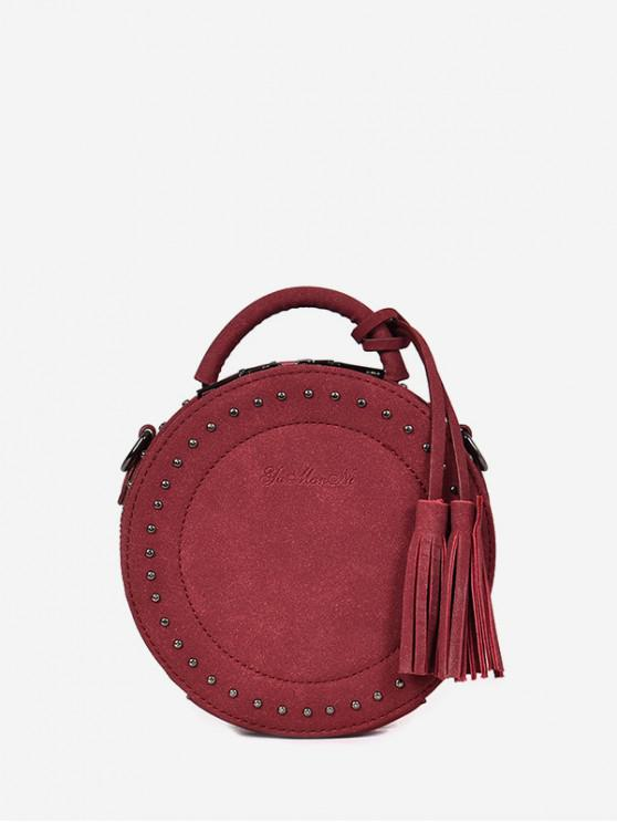 affordable Tassel Stud Retro Round Shoulder Bag - RED WINE
