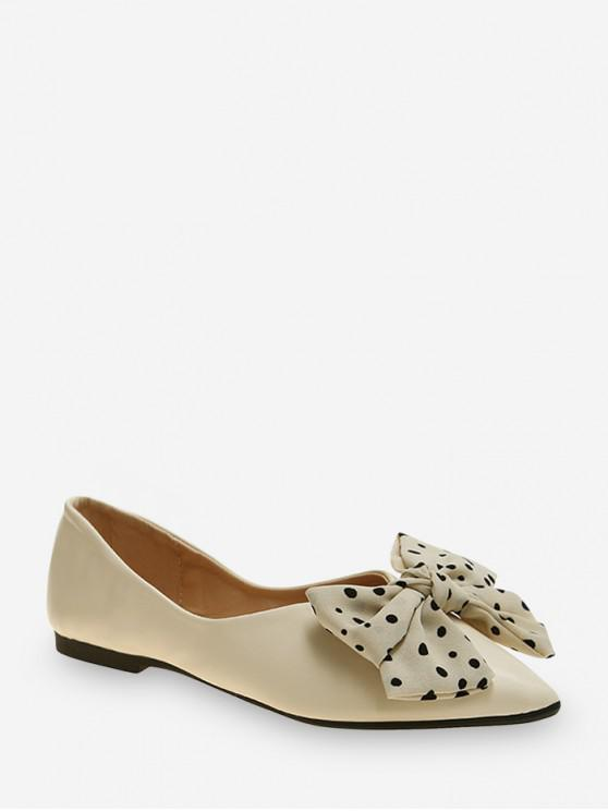 best Pointed Toe Polka Dot Bow Flat Shoes - APRICOT EU 36