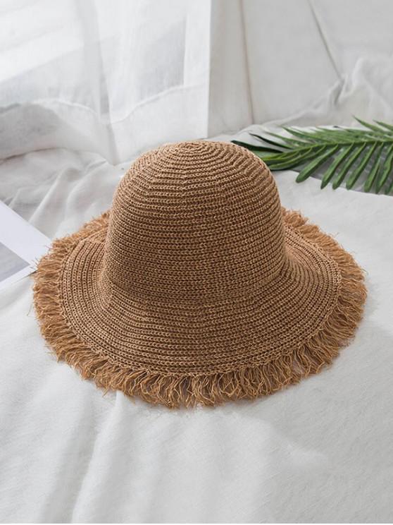 Sombrero de paja plegable con dobladillo deshilachado - Caqui