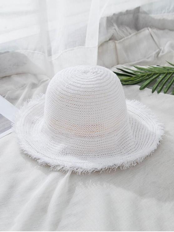 womens Frayed Hem Folding Straw Hat - WHITE