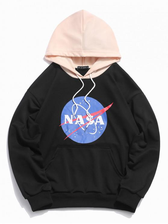 lady ZAFUL Graphic Letter Print Color Block Hoodie - BLACK S