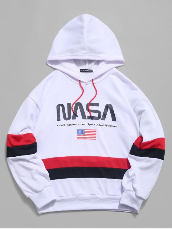 best ZAFUL American Flag Color Blocking Letter Print Hoodie - WHITE L
