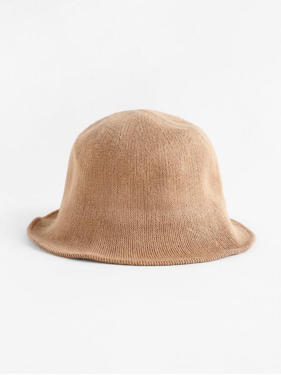 Chapéu de malha de cor sólida Round Top - Amarelo