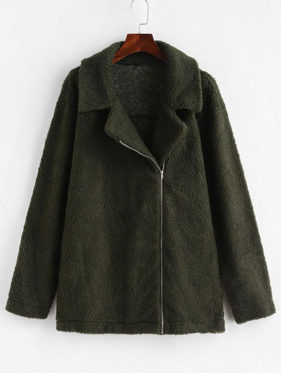chic Zip Up Pocket Fluffy Tunic Teddy Coat - ARMY GREEN XL