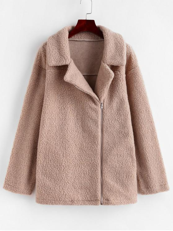 fashion Zip Up Pocket Fluffy Tunic Teddy Coat - DARK KHAKI M
