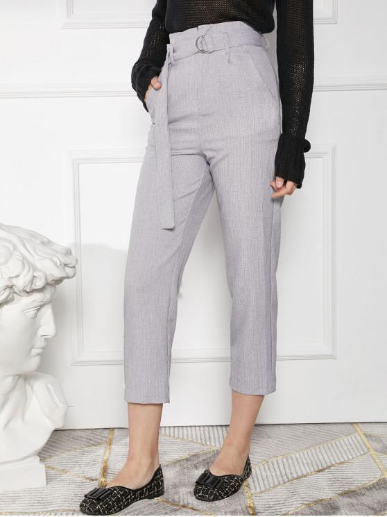 best High Waisted Pocket Belted Work Pencil Pants - GRAY XL